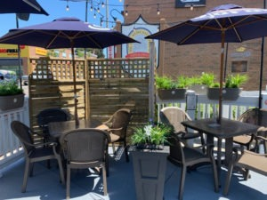 Patio with dividers for social distancing at The Old Newcastle House.