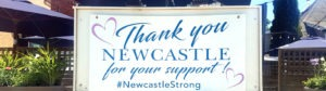 "Sign outside The Old Newcastle House that reads, ""Thank you Newcastle for your support""."""