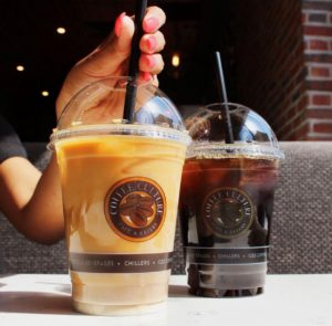 Two iced coffees from Coffee Culture in downtown Brooklin.