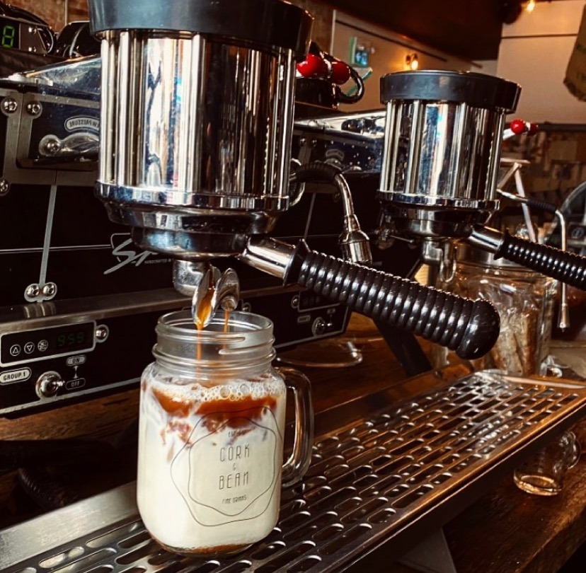 Iced coffee being made at Cork and Bean.