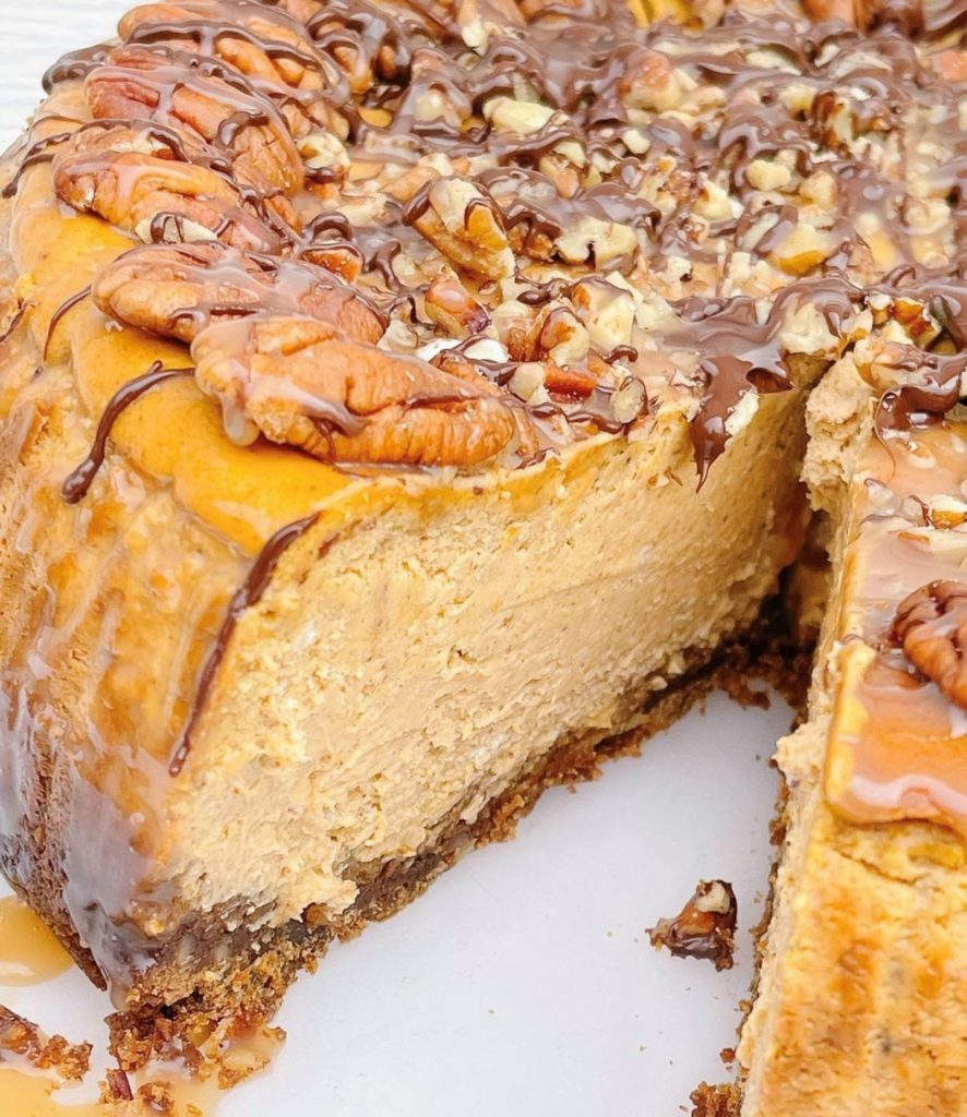 Close up of a Turtle pumpkin cheesecake.